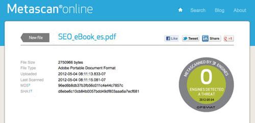 Análisis de archivos online Metascan
