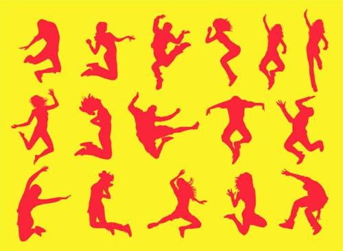 Vectores de personas saltando