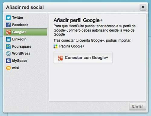 Publicar contenido en Google + con Hootsuite
