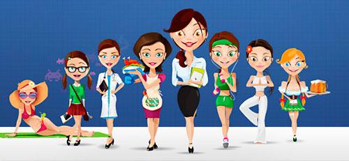 Vectores de mujeres caricatura