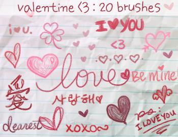 Brushes de caricatura del día de San Valentín