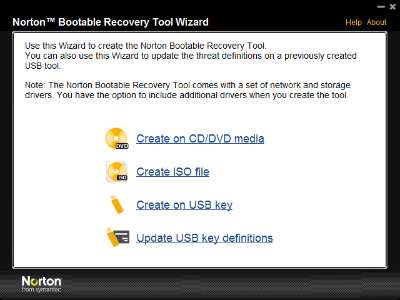 Norton Booteable Recovery Tool