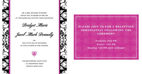 Invitación para boda Pink & Black