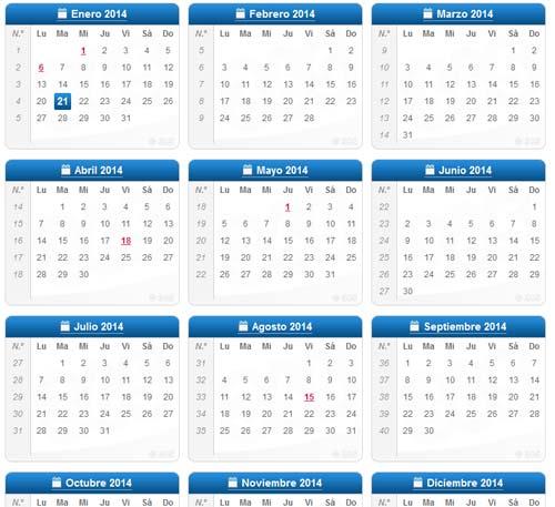 Calendario Completo.Calendario 2014 Completo En Pdf Para Imprimir Interlinkeo