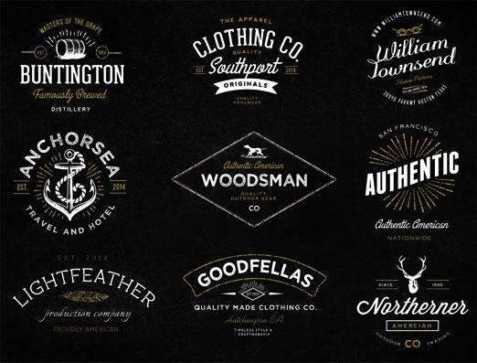 Set de logos vintage ideales para diseñadores